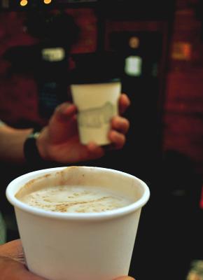 Soy latte in hand