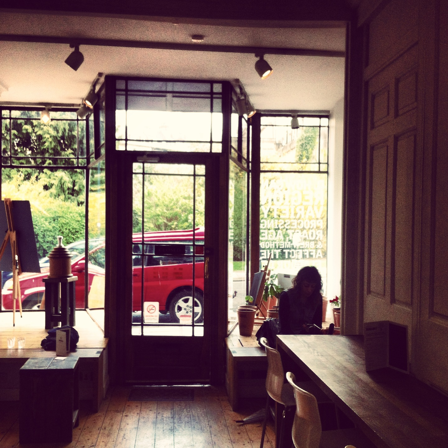 View to the outside from the inside of the cafe